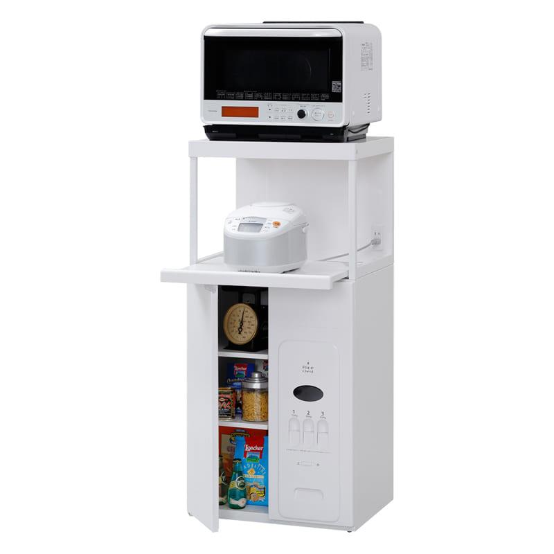 レンジ台 キャビー米びつ30kgタイプ CD−304W(ホワイト):家電・小物類はイメージです