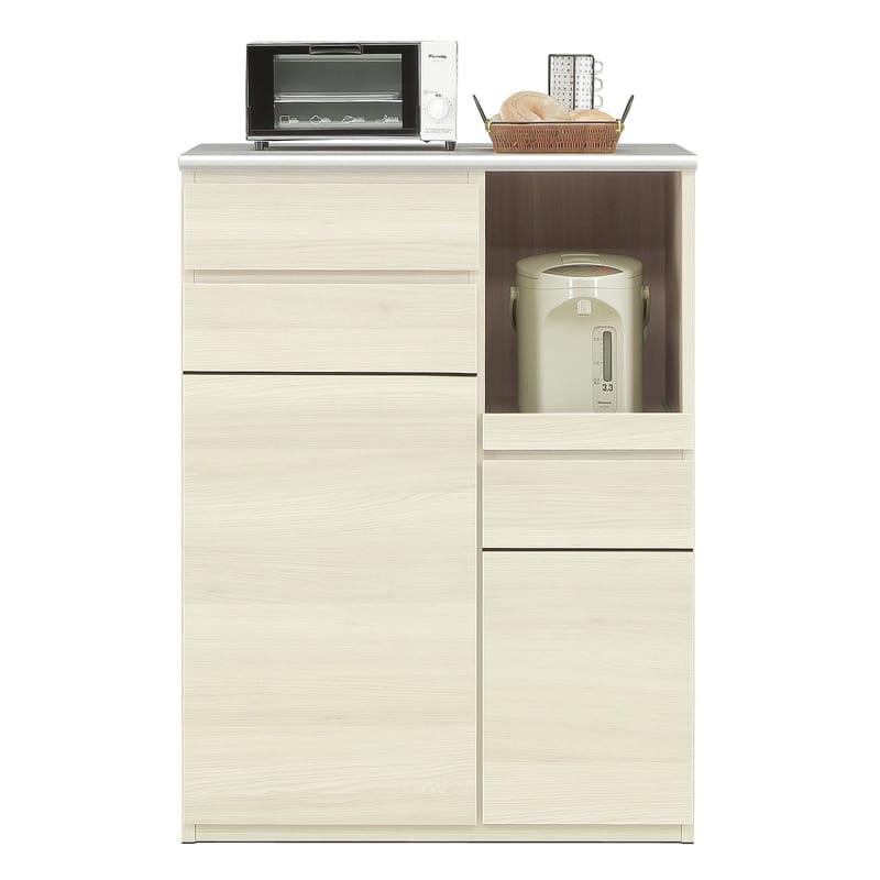 ハイトップカウンター プレッソ80 ハイトップ WH木目:側板も木目調カラー仕上げです。※家電、小物類はイメージです。