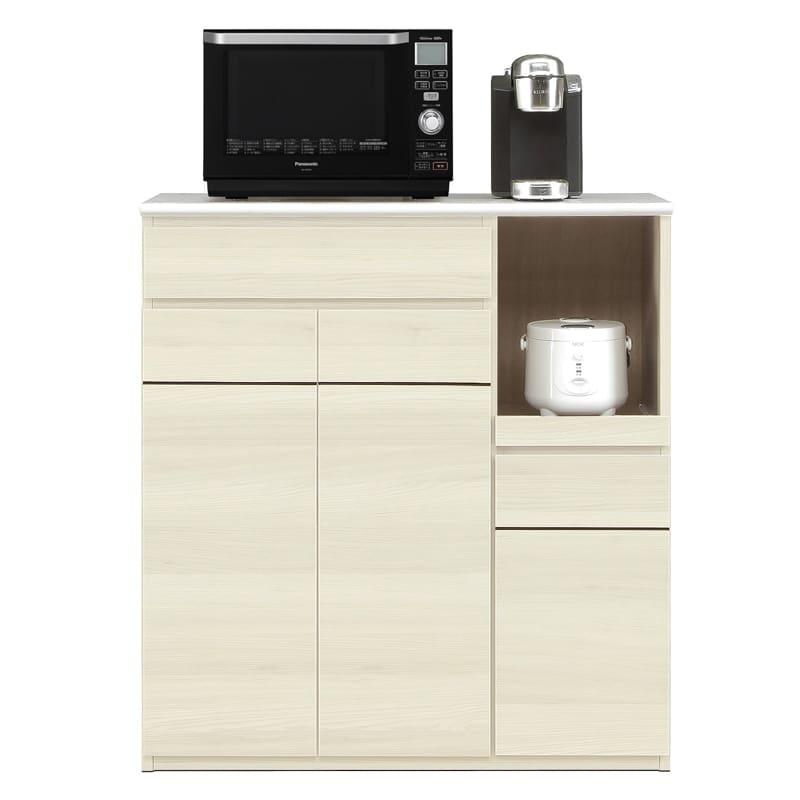 ハイトップカウンター プレッソ100 ハイトップ WH木目:側板も木目調カラー仕上げです。※家電、小物類はイメージです。