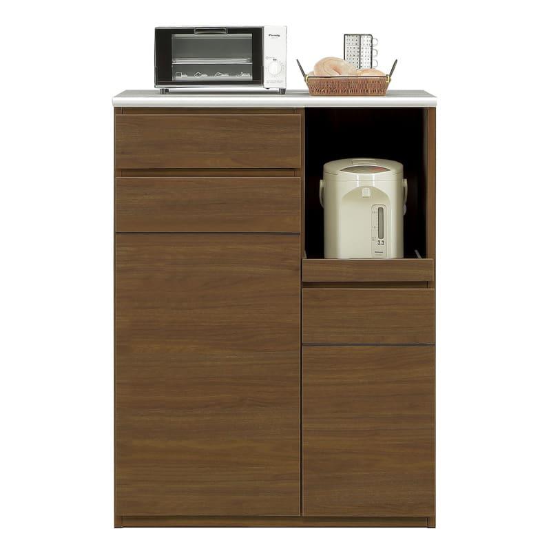 ハイトップカウンター プレッソ80 ハイトップ WN木目:側板も木目調カラー仕上げです。※家電、小物類はイメージです。