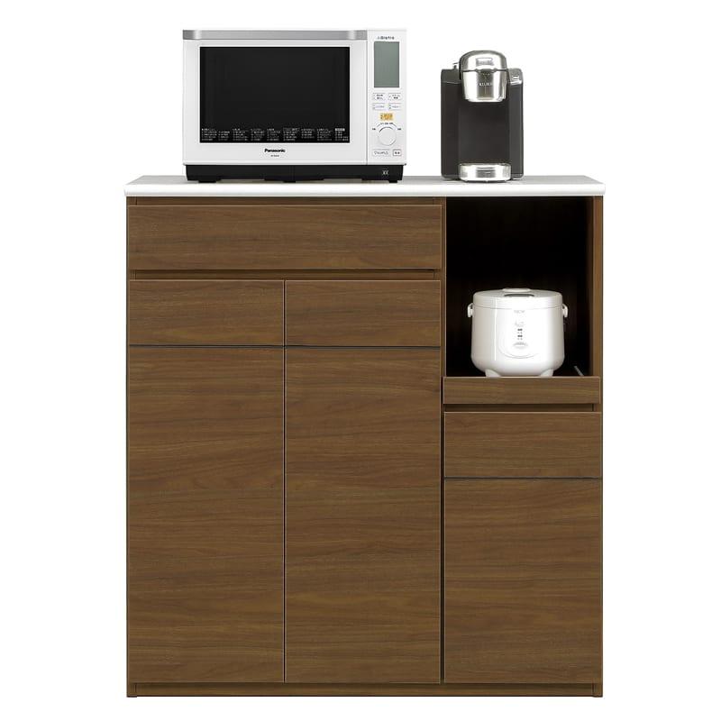 ハイトップカウンター プレッソ100 ハイトップ WN木目:側板も木目調カラー仕上げです。※家電、小物類はイメージです。