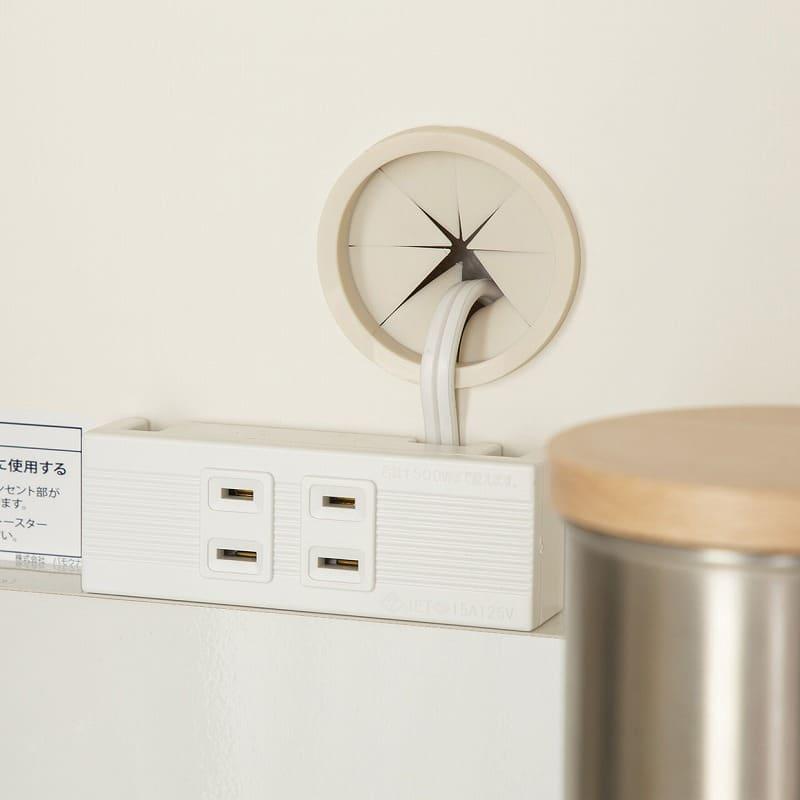 パモウナ カウンター リヒト FM−S900R下台 W(プレーンホワイト):配線すっきり