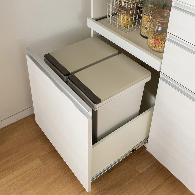 パモウナ カウンター リヒト FM−S900R下台 W(プレーンホワイト):15Lのゴミ箱が2個入る