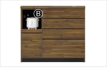 カウンターポッパーS 105 カウンター:表面材は、アカシア材、集成材天然木を使用しています