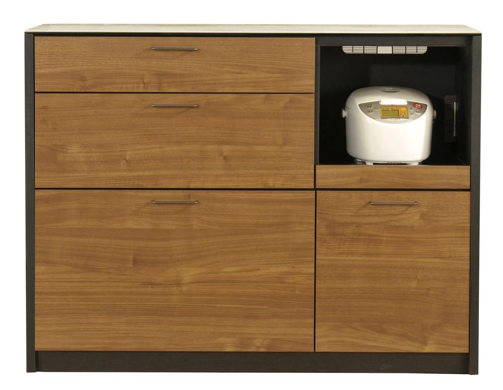 カウンター フェリス120カウンターWN/BK・ホワイトクオーツ:熱・キズ・汚れに強いセラミックを天板に使用したカウンターです