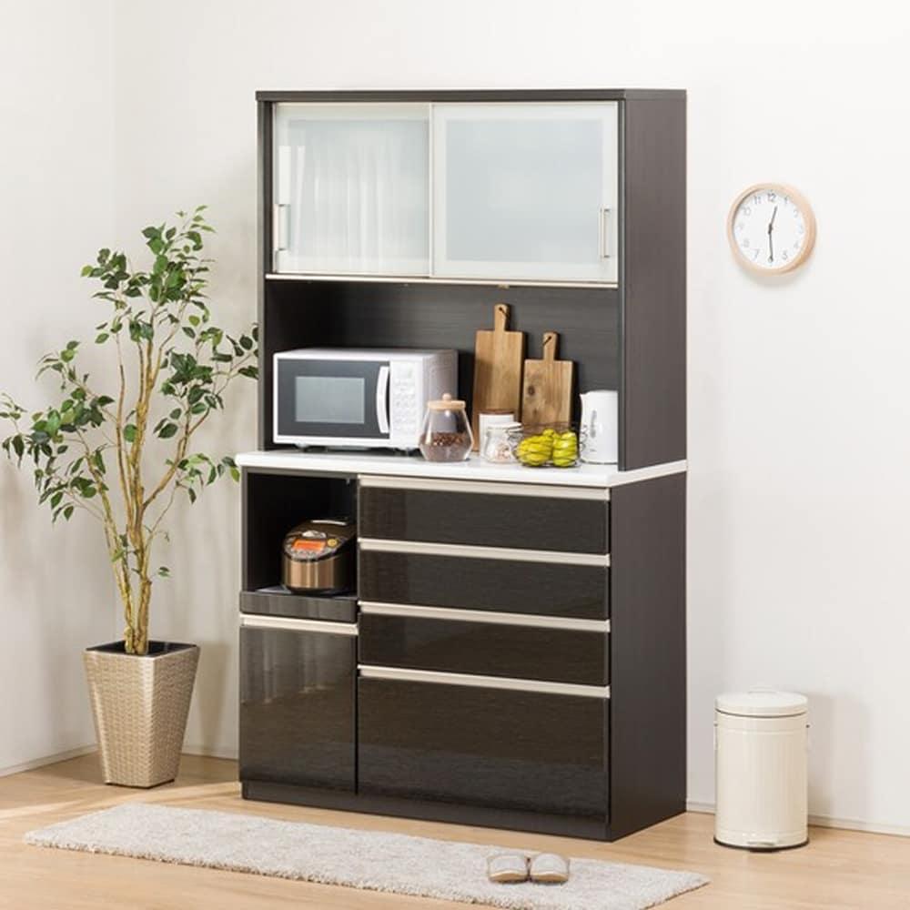 【ニトリ】 キッチンボード Nポスティア 120KB BK ブラック:大型レンジも設置可能なサイズ。ハイカウンタータイプのキッチンボード。 価格