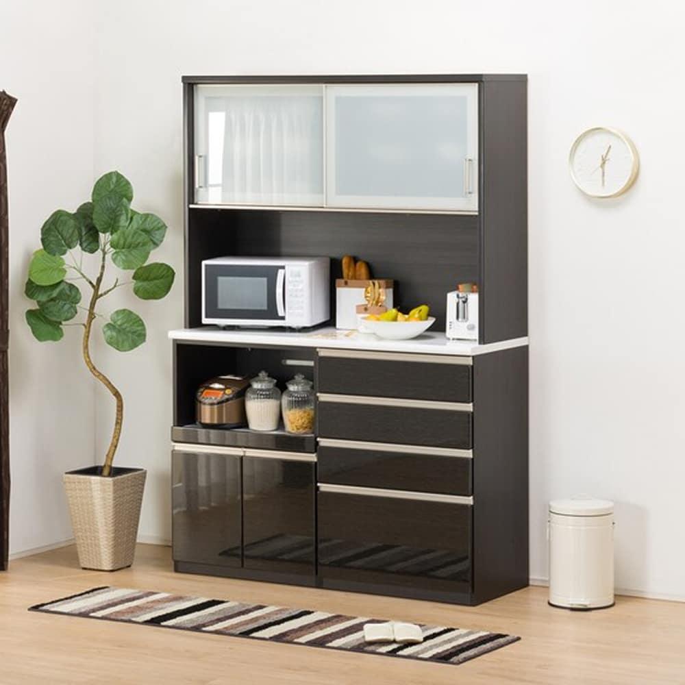 【ニトリ】 キッチンボード Nポスティア 140KB BK ブラック:大型レンジも設置可能なサイズ。ハイカウンタータイプのキッチンボード。 価格