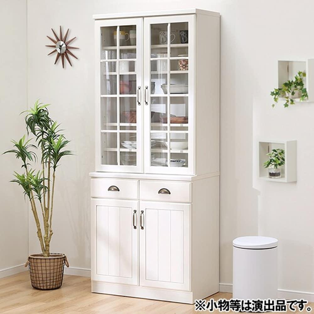 【ニトリ】 キャビネット 食器棚 ミランダ2 80 WW ホワイトウォッシュ:取っ手の貝ハンドルがアクセント。