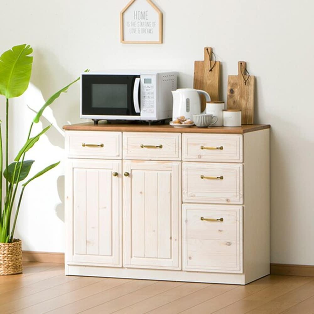 【ニトリ】 キッチンカウンター シナモ 105 WH ホワイト:【シナモシリーズ】キッチンをまとめてカントリー調にコーディネート。
