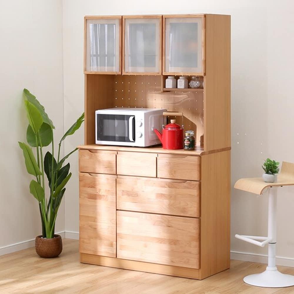 【ニトリ】 キッチンボード アルナス3 105KB LBR ライトブラウン:やわらかい風合いが魅力のアルダー材を使用したナチュラルテイスト。