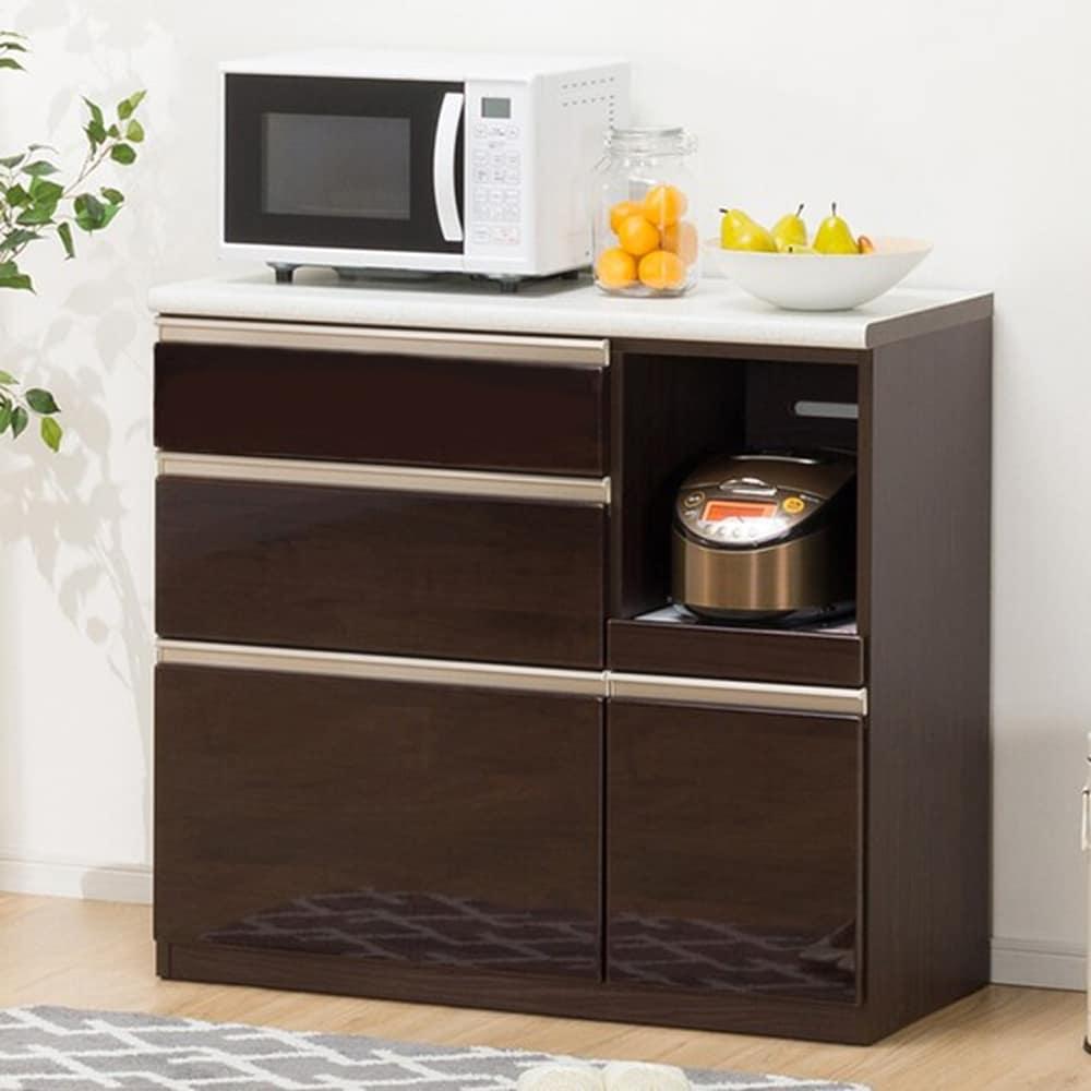 【ニトリ】 キッチンカウンター アルミナ2 100CT DBR ダークブラウン:洗練されたデザインでキッチン全体がスタイリッシュな空間に変わります。