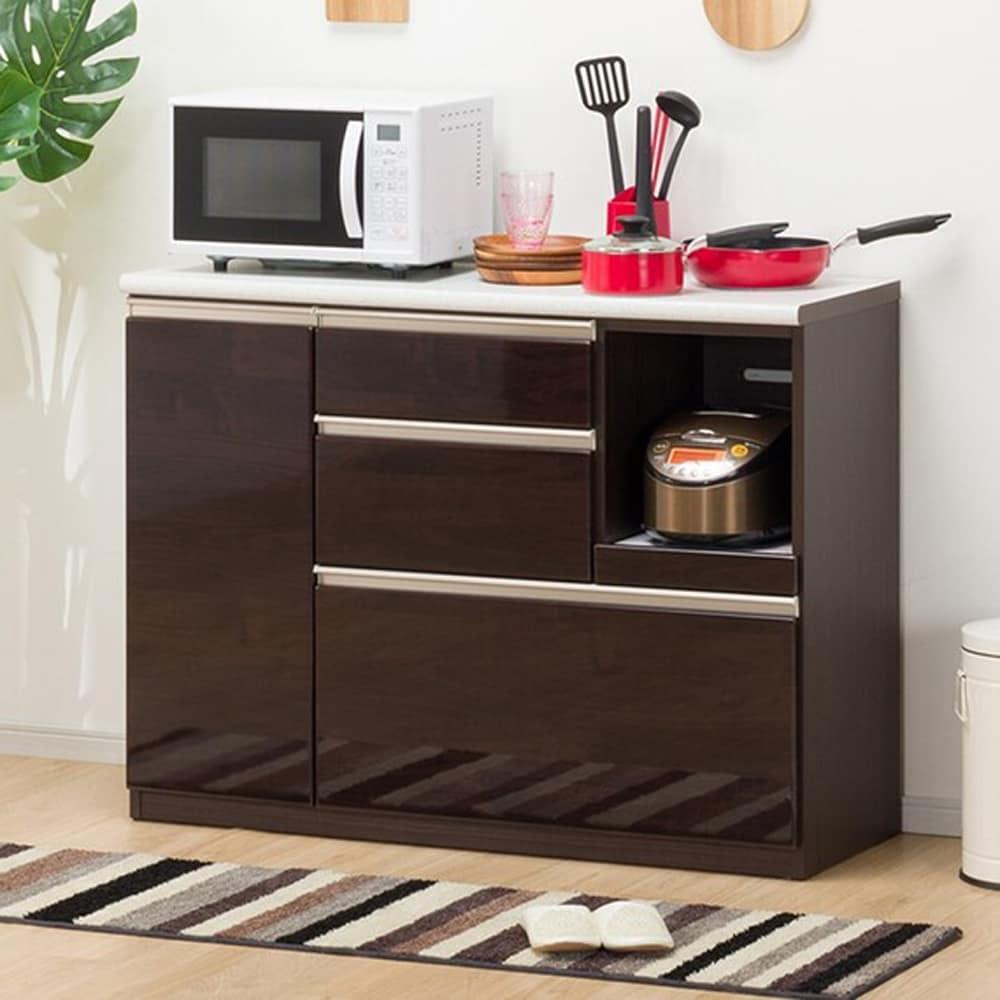 【ニトリ】 キッチンカウンター アルミナ2 120CT DBR ダークブラウン:洗練されたデザインでキッチン全体がスタイリッシュな空間に変わります。