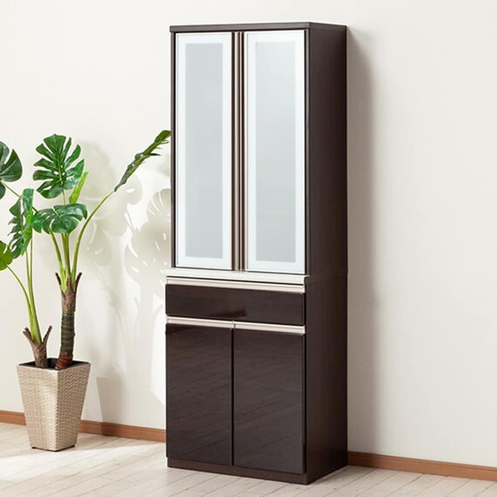 【ニトリ】 ダイニングボード 食器棚 アルミナ2 70DB DBR ダークブラウン:洗練されたデザインでキッチン全体がスタイリッシュな空間に変わります。