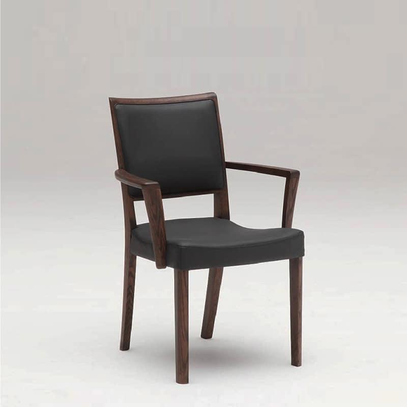 カリモク ダイニングチェア ダンテアームチェア(肘付) C19720 木部:モカブラウン/合成皮革ラルゴブラック:座って納得!座り心地。抗菌張地の椅子です