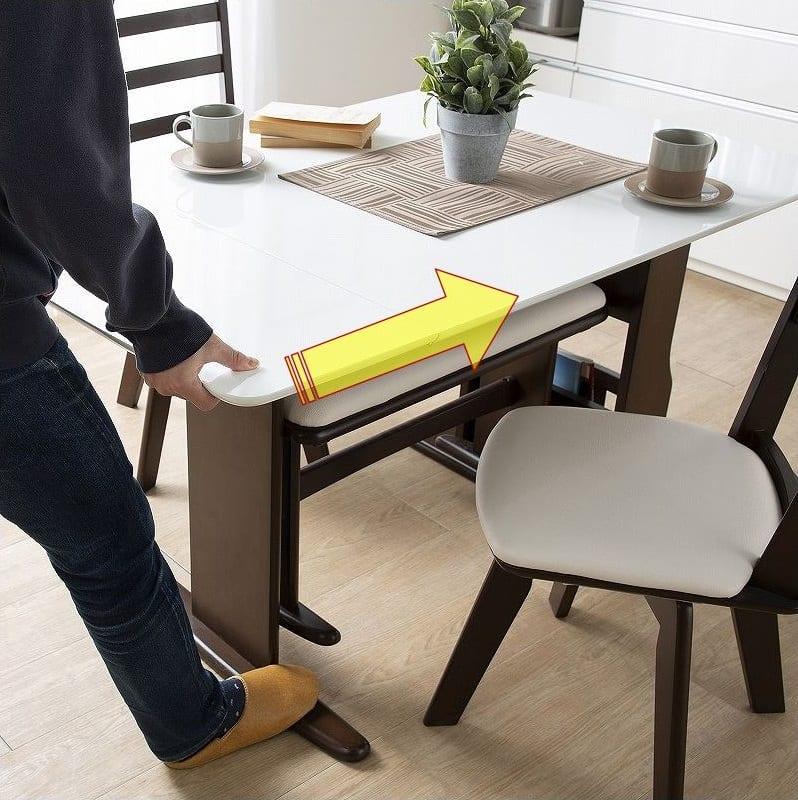 ダイニングテーブル パスタ(LBN/WH):伸長テーブル