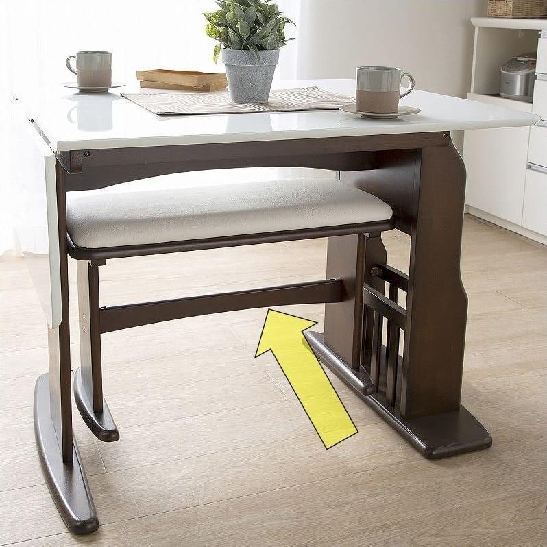 ダイニングテーブル パスタ(LBN/WH):ベンチ収納