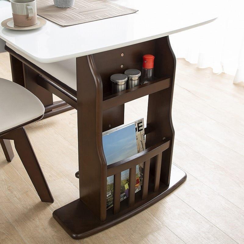 ダイニングテーブル パスタ(LBN/WH):収納ラック完備