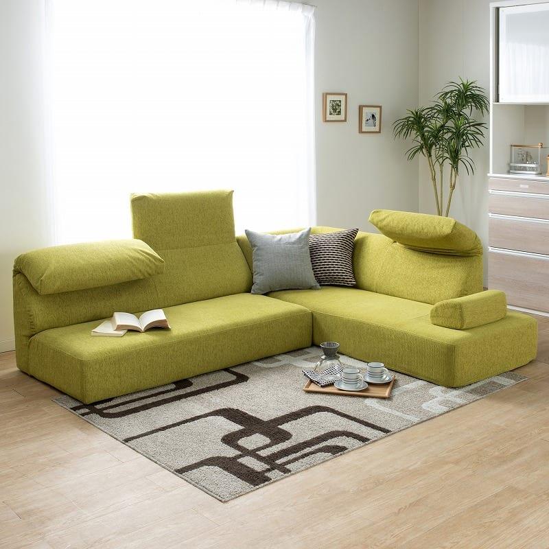 LDセット エクラ テーブル別売り(張地:E132色/脚:ナチュラル色):ロータイプとしても使えます。