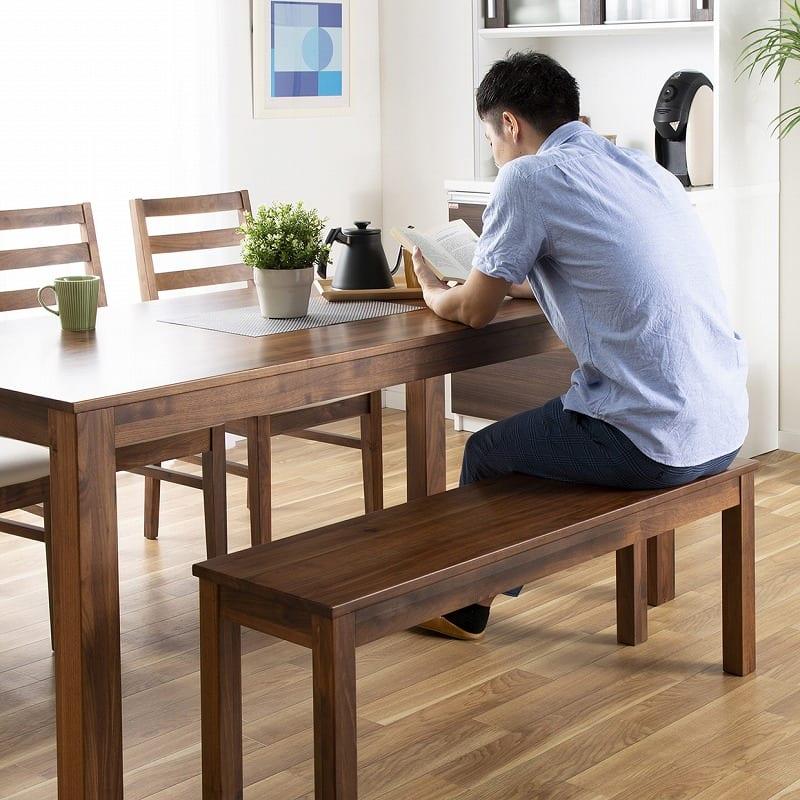 ダイニングテーブル フォーゼ�U 135ウォールナットブラウン:何かと使いやすい開放感のあるベンチ