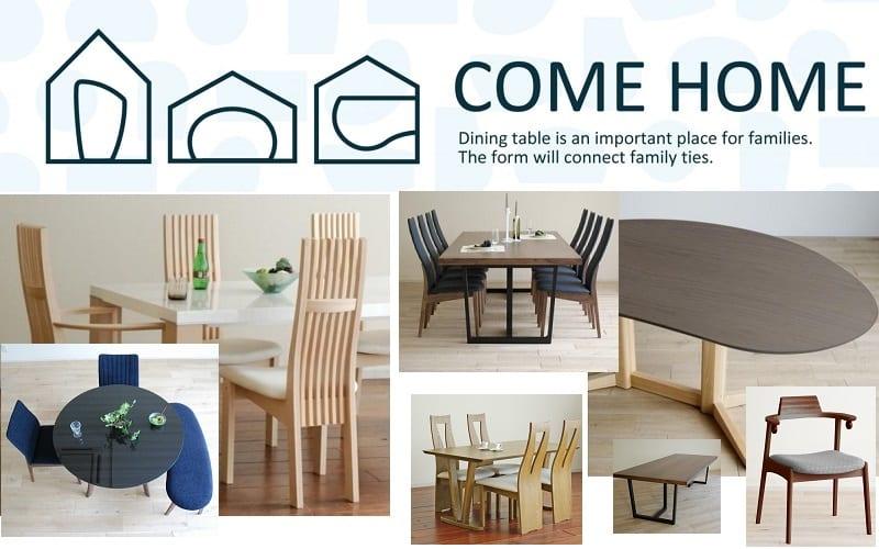 ダイニング5点セット COME HOME(ドーム型/白木目天板):店舗では他のカラーやサイズもご用意しています。