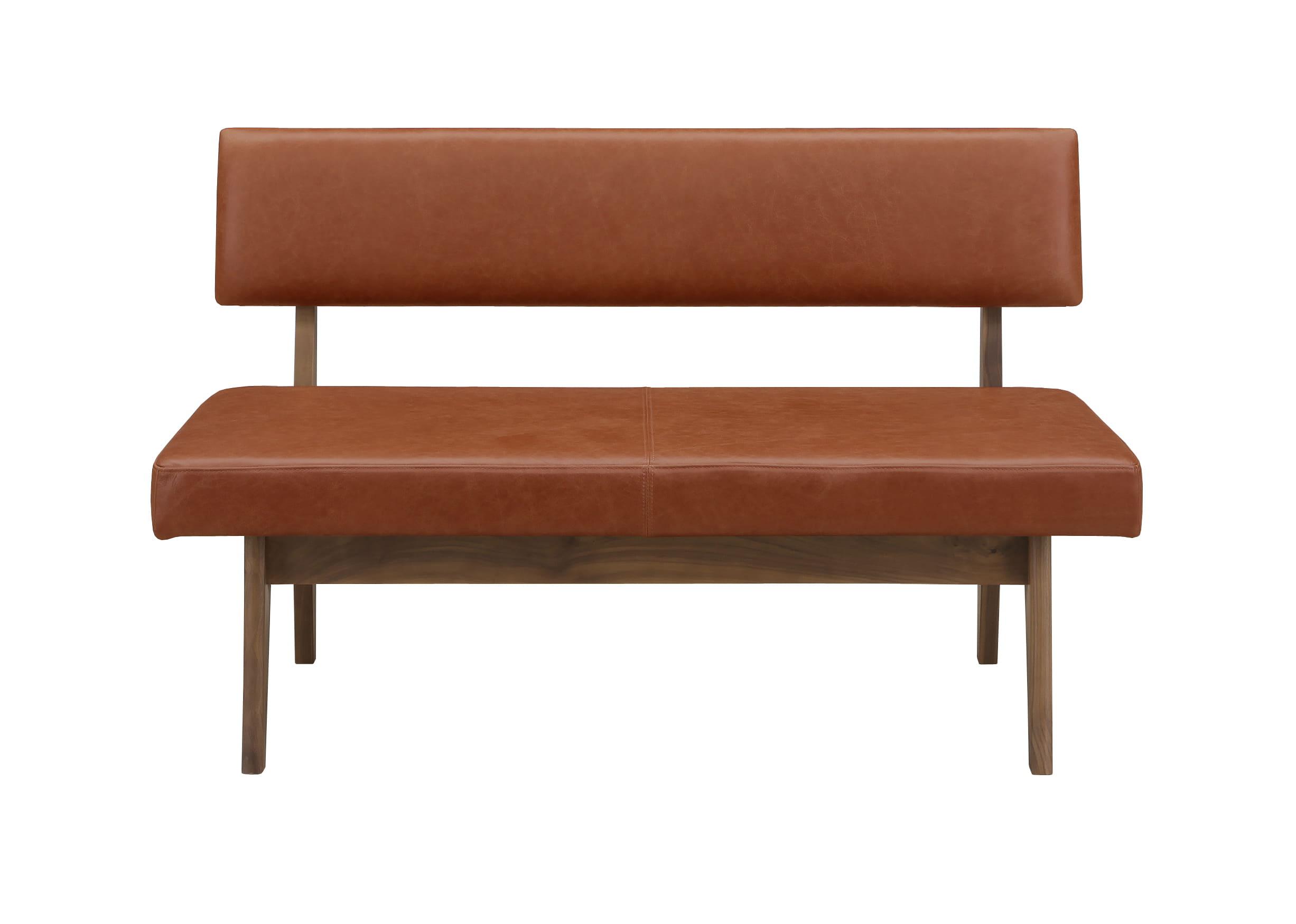 ダイニングベンチ ウォールライフWB−001背付(BR革):すべての木部にウォールナット無垢材を使用したウォールライフシリーズ