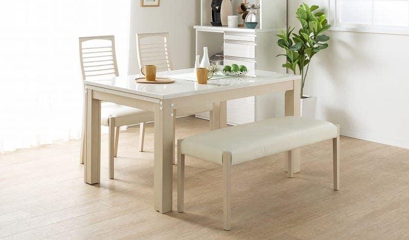 伸長式ダイニングテーブル フリー(WH):普段は通常サイズで