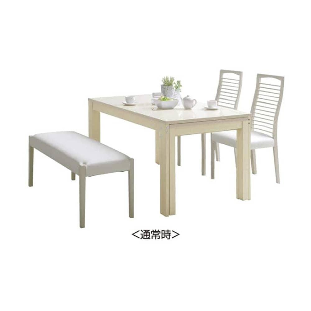 伸長式ダイニングテーブル フリー(WH):ベンチスタイルでより解放感UP