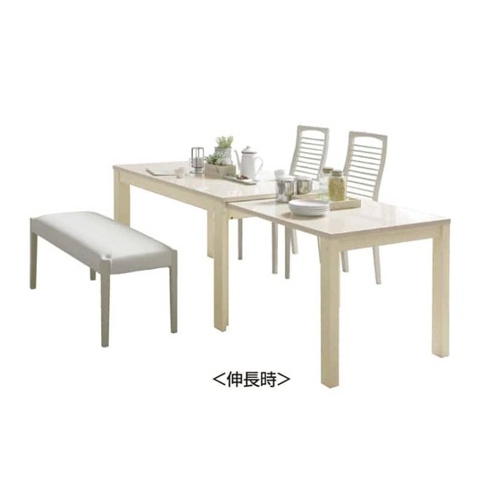 伸長式ダイニングテーブル フリー(WH):ソフトレザー