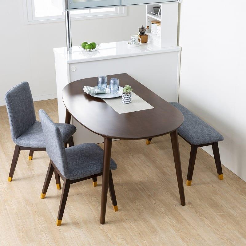ダイニング4点セットKID'S PLAN リコッタ(WH・DBN):自然と会話が弾むテーブル