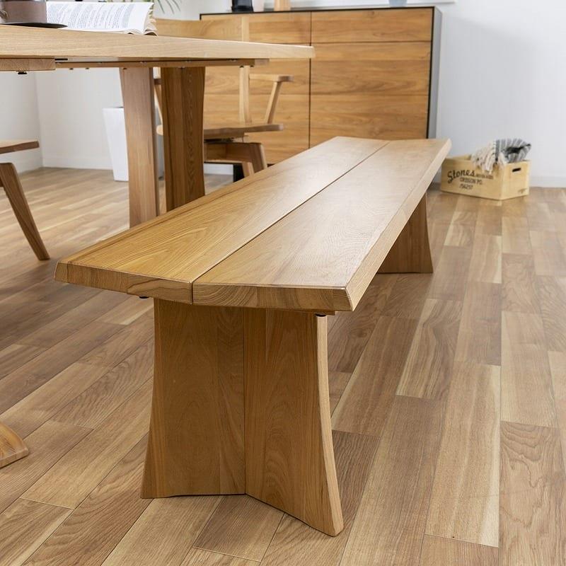 ダイニングテーブル ハーグ 180テーブル  NA:ベンチは座面の傾斜がポイント♪