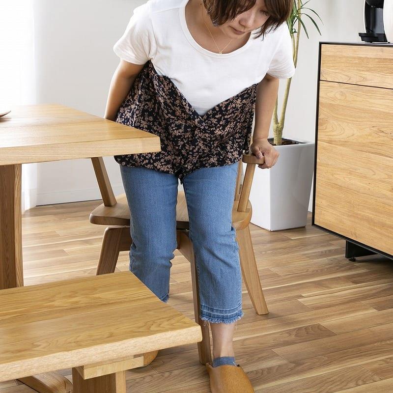 ダイニングテーブル ハーグ 150テーブル AT:回転チェアで出入りラクチン★