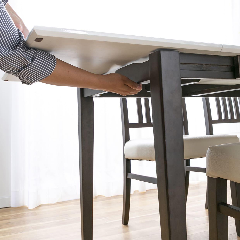 ダイニングテーブル トーレ 120EX BR突板:脚部はスライド式
