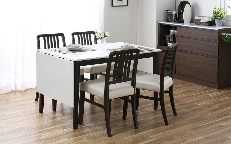 ダイニングテーブル トーレ 120EX WH天板  WH/BR:用途に合わせて調整できるダイニングテーブル