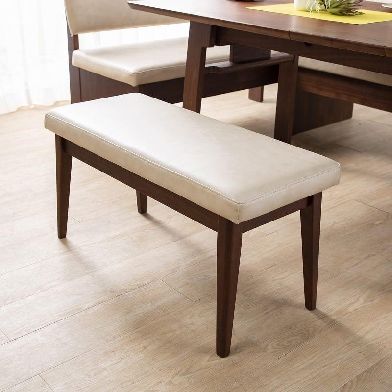 LD4点(R)セット ゲスト LDテーブルWH+伸長チェアR+カウチR+80ベンチ WH:テーブルを囲んでワイワイ♪