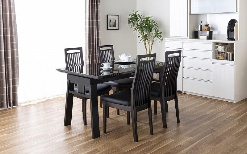 ダイニングテーブル シフト140伸張テーブル BK:天板の大きさを変えられる驚きのダイニングテーブル