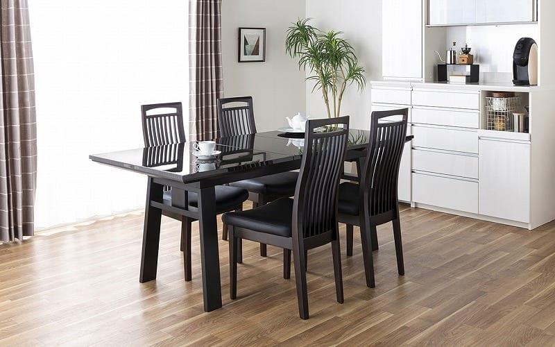 ダイニングテーブル シフト140伸張テーブル BK:伸長時