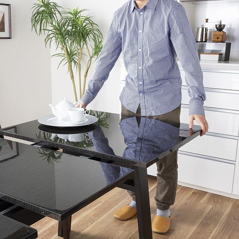 ダイニングテーブル シフト140伸張テーブル BK:天板の広さが変わる驚きの設計!
