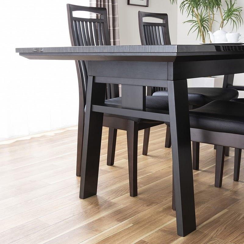 ダイニングテーブル シフト140伸張テーブル BK:脚元が広々している