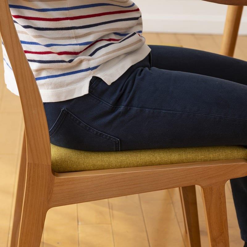 ダイニングチェア替えカバー リーフパーク リス DC用 イエロー:心地よい座り心地