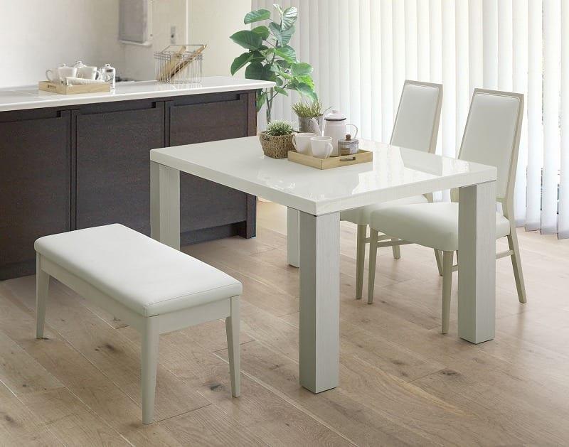 ダイニングテーブル セーヌ�Uテーブル 天板WH/脚WH