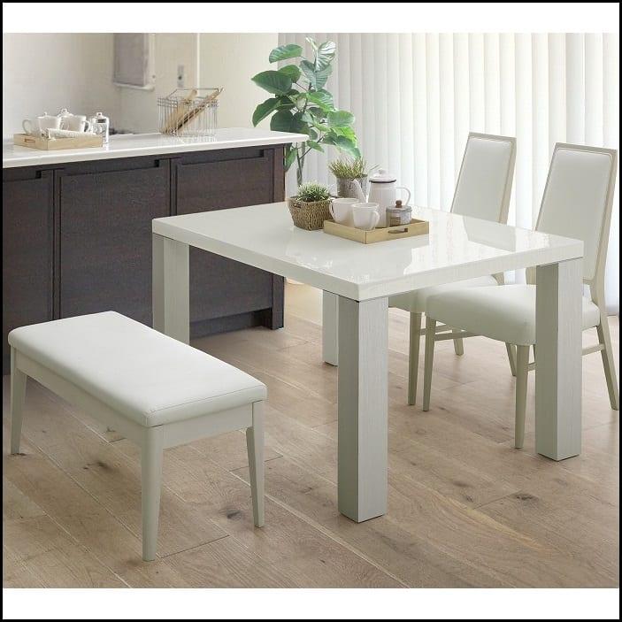 ダイニングテーブル セーヌ�Uテーブル 天板BK/脚WH