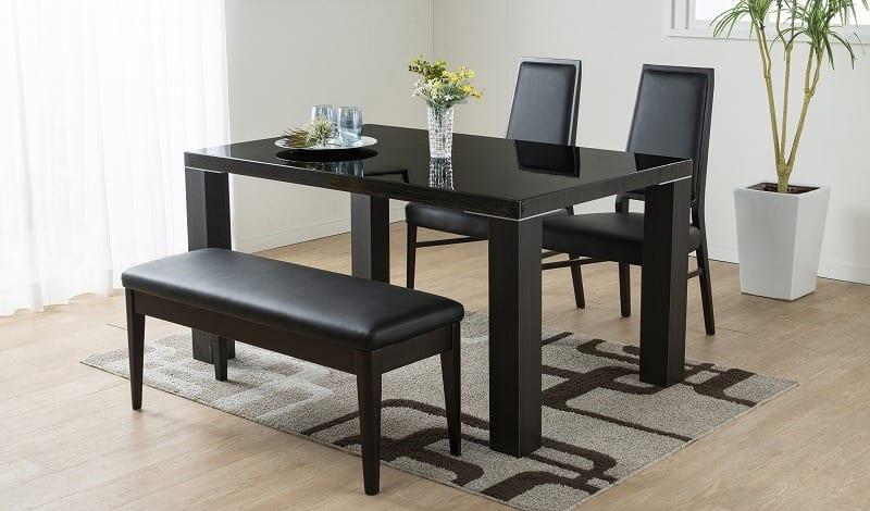 ダイニングテーブル セーヌ�Uテーブル 天板WH/脚BK:艶やかなダイニングセットはお手入れも簡単