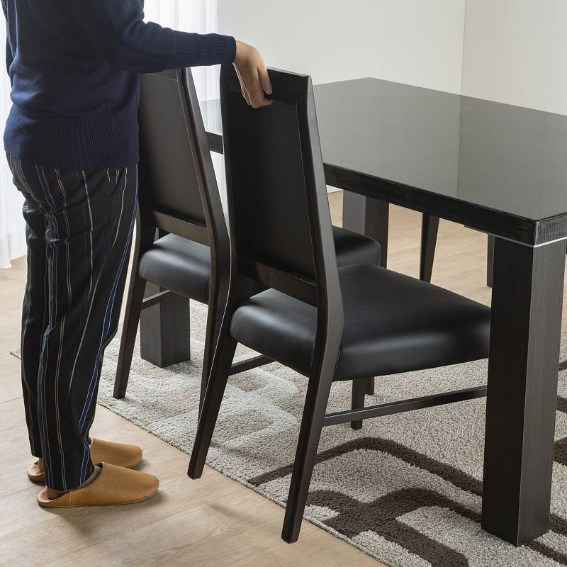 ダイニングテーブル セーヌ�Uテーブル 天板WH/脚BK