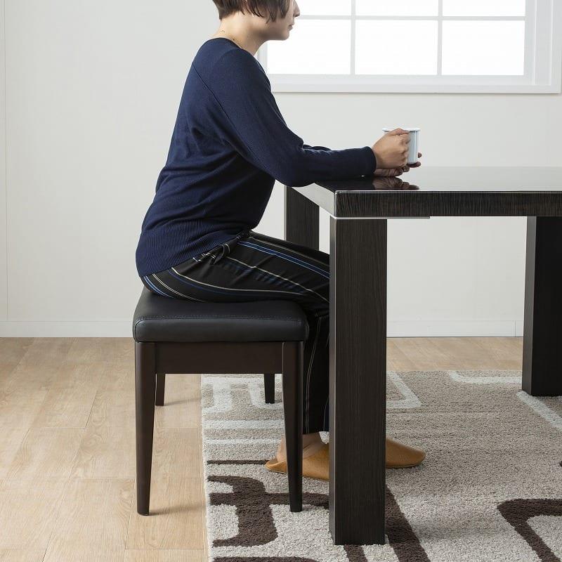 ダイニングテーブル セーヌ�Uテーブル 天板BK/脚BK:ベンチタイプで解放感をプラス