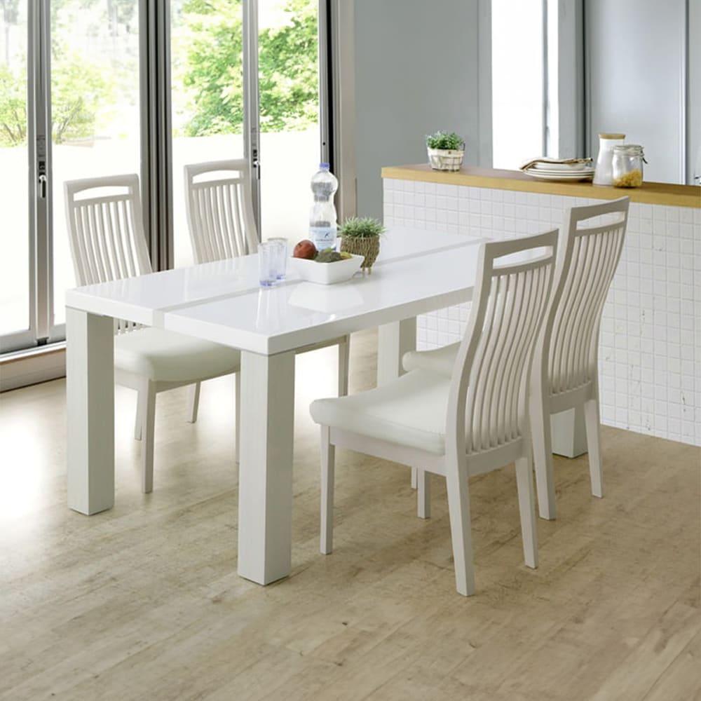 ダイニング5点セット ロレンス (155テーブル):清潔感のあるホワイト鏡面仕上げ