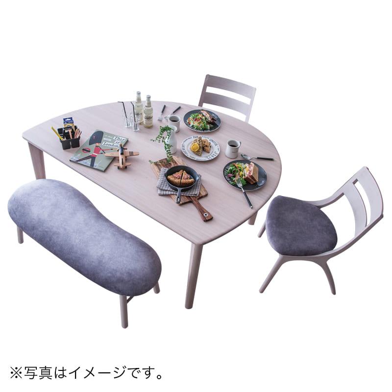 カリモク ダイニング4点セット サイン(シアーホワイト/マーブルプラチナ):家族の会話が弾む変形テーブル 画像はイメージです。