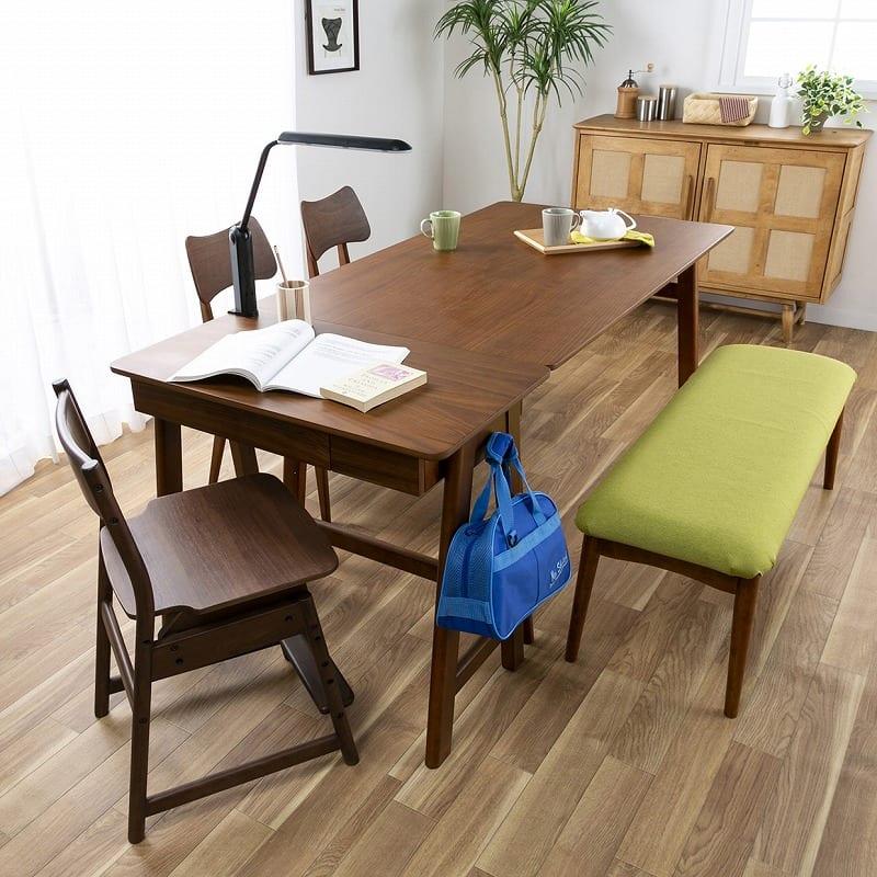 木製デスク(ライト付) クオーレ WN/ライトBK:食事も勉強も家族と一緒に