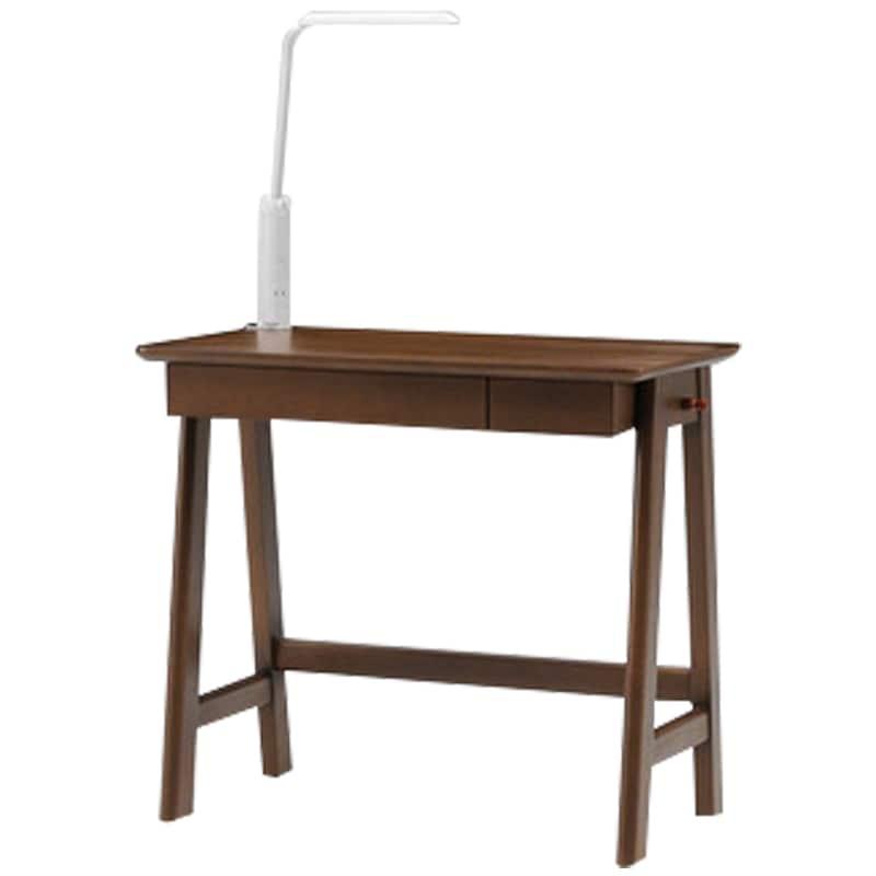 木製デスク(ライト付) クオーレ WN/ライトWH:【デスク・ライト単体の商品です】※チェア・小物は別売りです