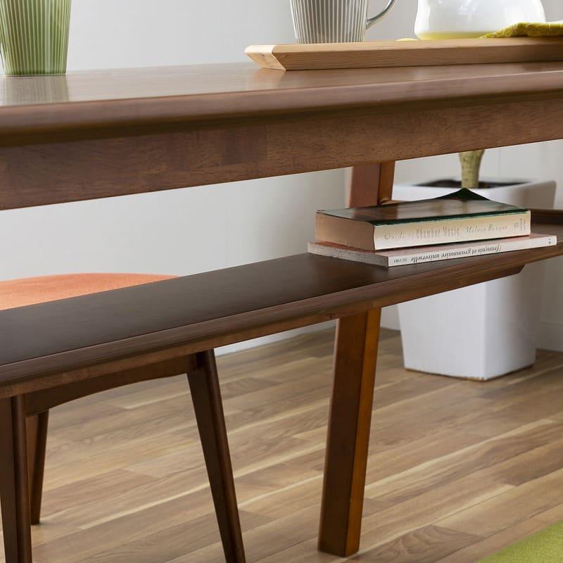 木製デスク(ライト付) クオーレ WN/ライトWH:テーブル下には収納棚付き