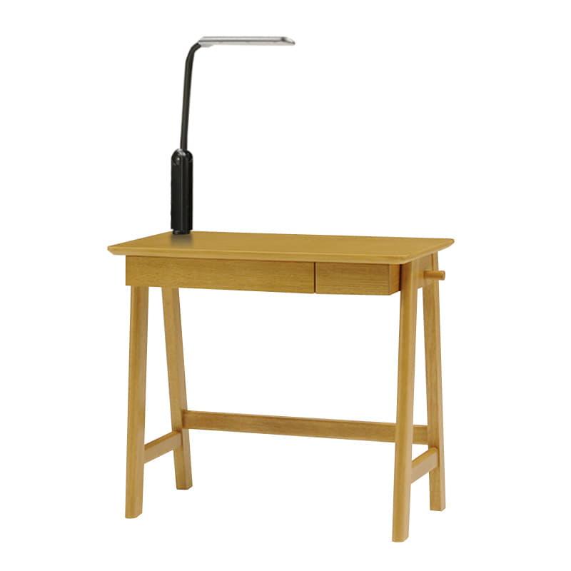 木製デスク(ライト付) クオーレ NT/ライトBK:【デスク・ライト単体の商品です】※チェア・小物は別売りです